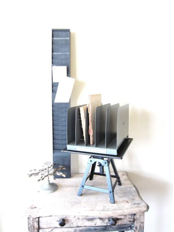 Retro Office Supply- Vintage Industrial Metal Desk Top File or Organizer