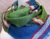 SALE Blue and Green with Blue, Green and Red Handwoven Scarf SALE