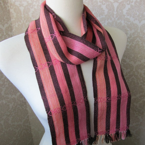 Chocolate Brown and Orange, Pink Stripes Twill Handwoven Scarf