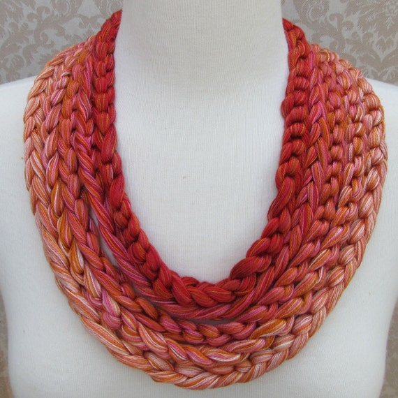 Five Shades of Orange and Pink Crocheted Yarn Necklace