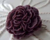 Cabbage Rose Barrette in Sugared Plum