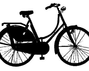 P26 Vintage style bicycle rubber stamp WM