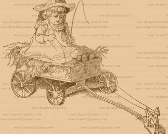 Girl in cart digital delivery clipart, vintage style