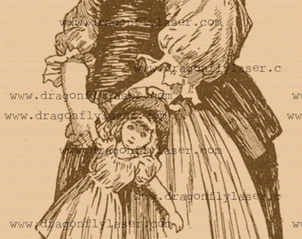 vintage style digital delivered image of girl with doll