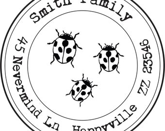 Return address rubber stamp, self inking. Ladybugs or your pick of image or logo.