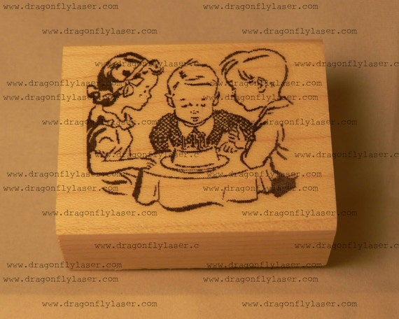 P39 Retro style birthday party rubber stamp