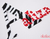 Grande Chic LETTER or NUMBER with 7 Sassy Letters Accent, Fabric Applique - Iron On, DIY, No Sew - You Pick The Print