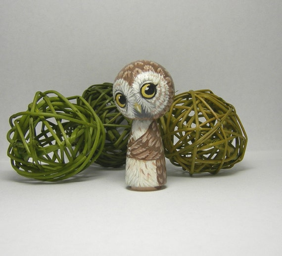Kokeshi Doll Owl - Rose