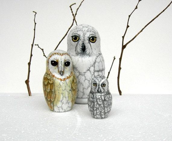 Ghost Owl Nesting Dolls Set of 3