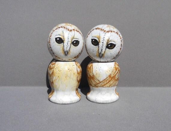 Barn Owl  Cake Topper Kokeshi Dolls