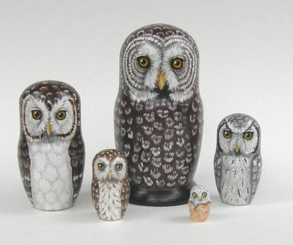 Nesting Doll Owls- Silent Flyers - Set of 5