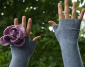 Cashmere Blue/Gray Heather Warmers with Large Fuzzy Lavender Lambswool/Angora Rose Applique