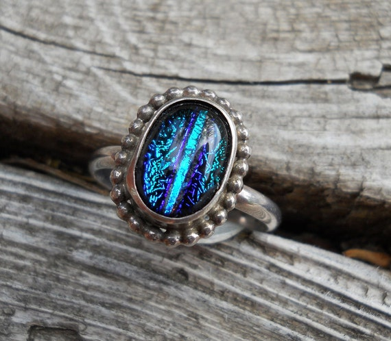 Blue Dichroic Glass Sterling Silver Ring size 9