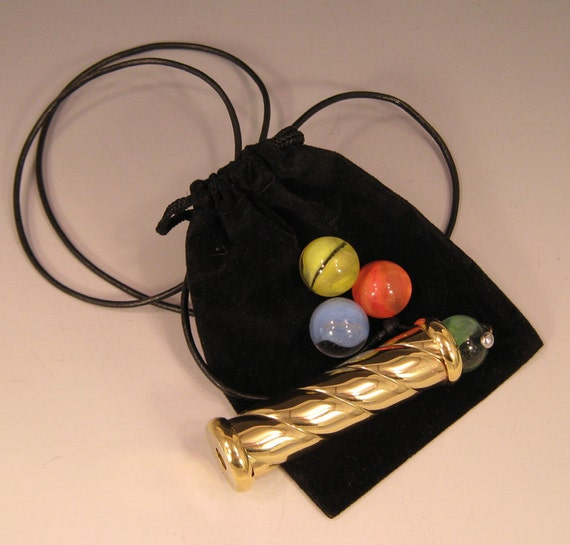 Marble Kaleidocope and Pouch, Necklace Kaleidoscope, Brass Scope Necklace