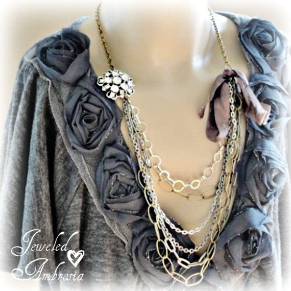 Gypsy Glam Vintage Rhinestone, Layered Chain Necklace tied with a Ribbon