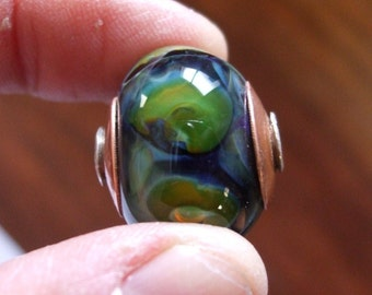 Capped and Cored Lampwork Focal Bead - Dignity - Elegant and Stunning