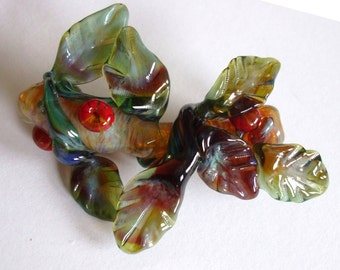 Lampwork Focal Bead - Glass Flower Corsage with Holly - Elegant Daphne
