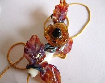 Lampwork Focal Bead - Handsculpted Glass Flower Corsage with Golden Rose - Querida