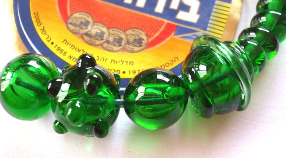 35 Maccabee Beer Bottle Beads .. Eco-friendly Lampwork