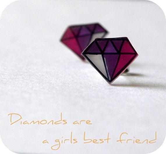 Purple Diamonds Studs