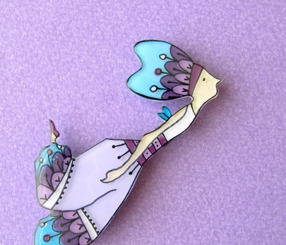 Feathers fairy Brooch or Necklace