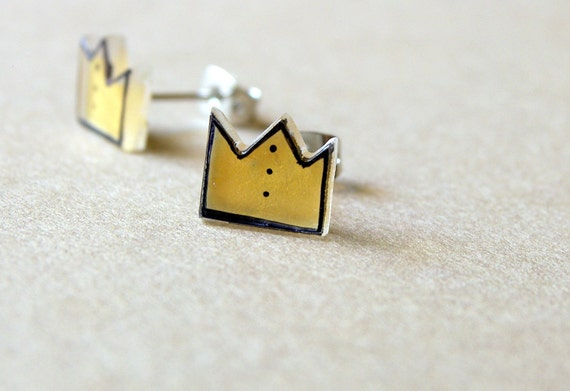 Crown Earrings, Royal jewelry, Gold acrylic earring studs