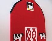 Barn Bulletin Board, Country Farm Theme Memo Board, Dairy Farm, Cow Theme, Chicken Decor, Farm Animals, Hand Painted Push Pins, Ships Free
