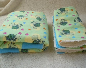 Turtle Love- Chenille Gift Set: Ready to ship, Gender Neutral gift, Baby Shower gift, burp cloth, changing pad, flannel, chenille, turtle