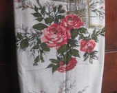HaLF oFF SaLE Mid Century BaRKCLOTH CHeRRY BLoSSOM RoSE...Was 40.00 Now 19.99