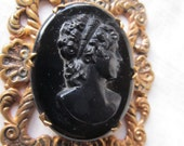 SALE Vintage Black Glass Cameo In Goldtone Setting Was 45.00 Now 39.99