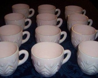 Sale SET Of 12 1930s Shell Pink MiLKGLASS PuNCH CuPS WAS 100.00...  NOW 74.99 mde