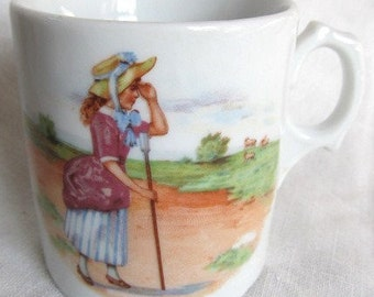 SALE Vintage 1930's Baby Cup Nursery Rhyme Inspired Little Bo Peep Made in Germany Was 14.99 Now 9.99