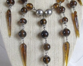 SALE Bohemian Gypsy Antique Statement Amber Glass Drop Pendants & Silver Tone Bib Necklace,  OOAK Was 100.00 Now 84.99