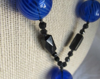 Antique Victorian Black Jet Mourning Necklace With Striped Cobalt Orbs,OOAK