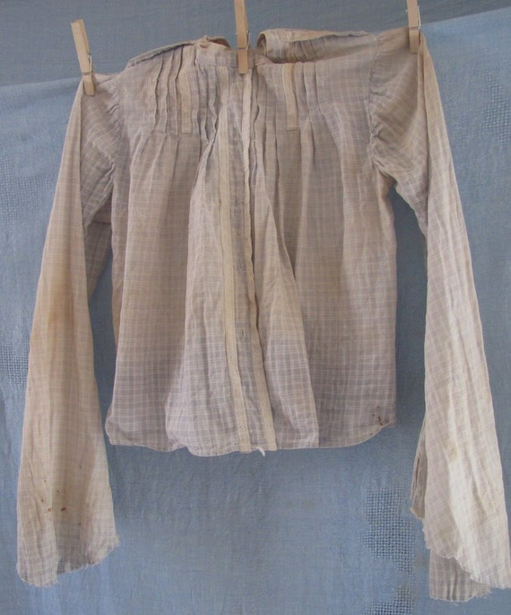 Sale Antique1800's, Primitive Girl's Plaid Blouse With Lace For Study, Pattern