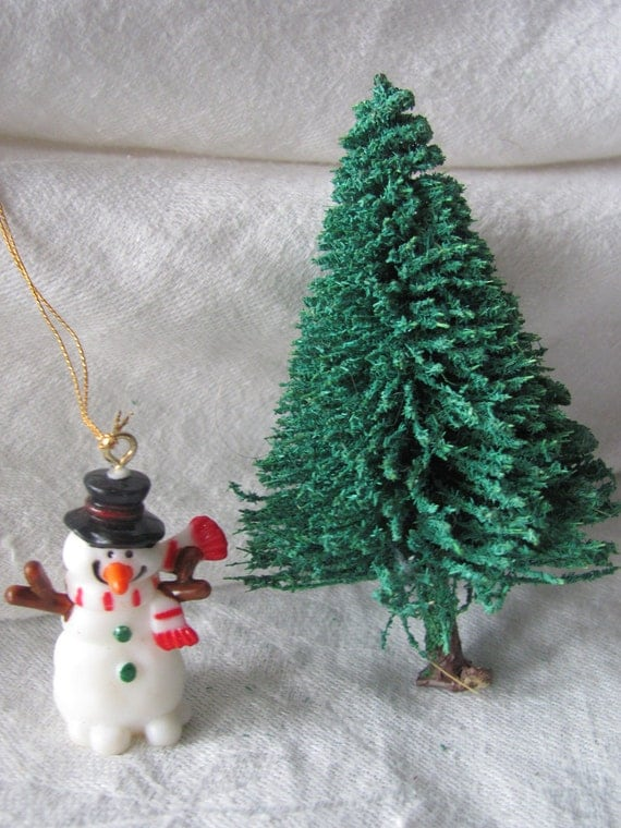 miniature snowman and bottle brush tree christmas craft
