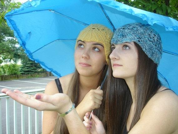 No Two Snowflakes presents Come Rain or Shine Lace Cloche KNIT HAT PATTERN Pdf by Nicole Feller-Johnson