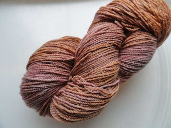 All Roads Lead to You Perfection Sport  No Two Snowflakes Hand Dyed Merino Wool Silk Cashmere Yarn 355 yds Pale Tawny Dusty Rose