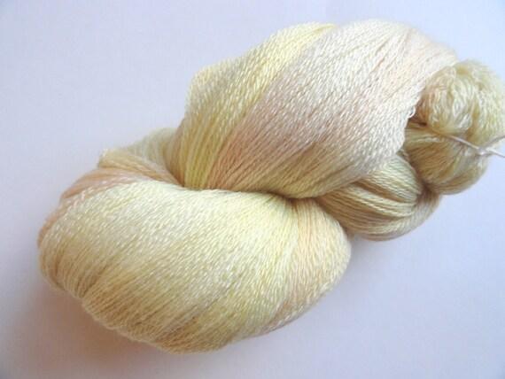Floff Hand Dyed Merino Cashmere Silk LACE knitting yarn Pale Butter Sun Yellow Blush