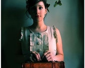 Girl with Suitcase Portrait, 4x6 Photo, The Escape Artist, Butterflies Portrait,