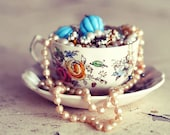 Still Life Teacup Photograph, Tea Cup Photo, Shabby Chic, Romantic Jewelry Photo, Bedroom Decor, Pearls, Bedroom Decor