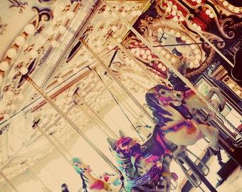 Carousel Photograph, Carnival Photo, Peach, Nursery Decor, Merry Go Round Photograph, Peach Color, Surreal Photography