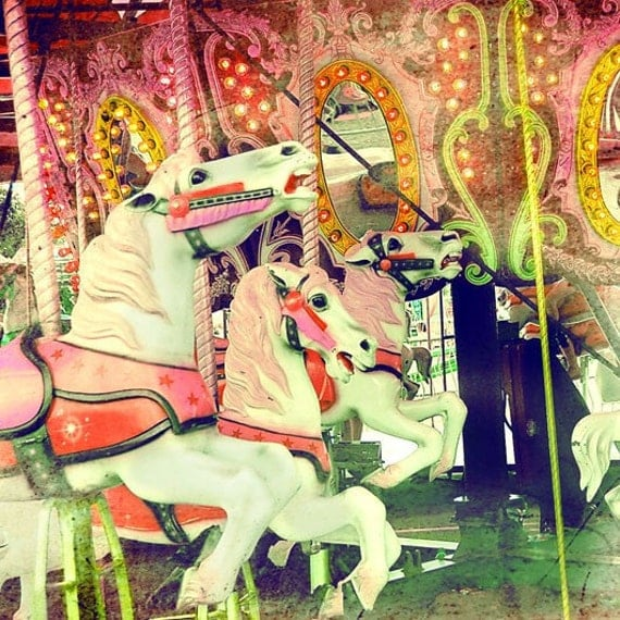 Carousel Photograph, Summer Candy,  5x5 Merry Go Round Horses Print