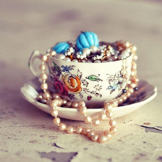 Still Life Teacup Photograph, Tea Cup Photo, Shabby Chic, Romantic Jewelry Photo, Bedroom Decor, Pearls, Bedroom Decor