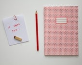 I love you Notebook - School supplies -  Pattern with red hearts - vertceriseshop