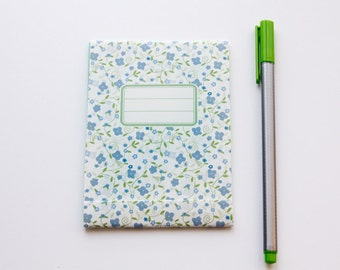 Pocket notebook, green and blue liberty pattern
