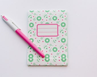 Small notepad, green and pink yummy pattern
