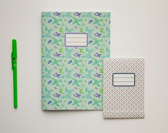 Custom notebook and big notepad - pack of 2 (one of each) - custom patterns and colors