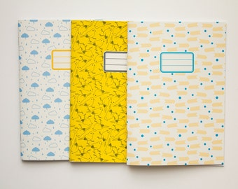 Personalized journals - Back to school kit - pack of 3 - 10 patterns available