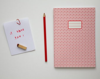 I love you Notebook - School supplies -  Pattern with red hearts